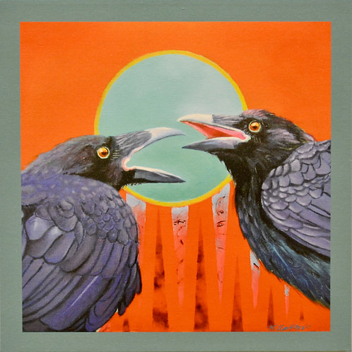 """Raven Rant"" Giclee on Canvas - 20"" x 20"" - by Karen Clarkson"
