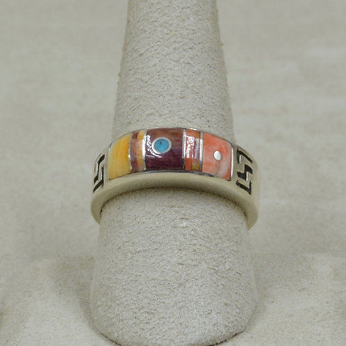 Domed, Turquoise, Purple & Orange Spiny Oyster 9.5x Ring by Veronica Benally
