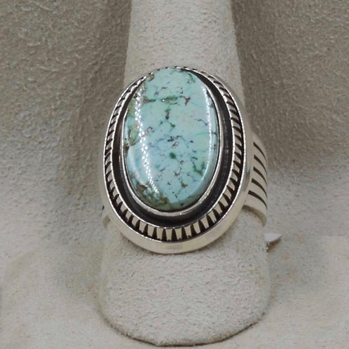 Sterling Silver and Emerald Valley Turquoise Ring 8X by Leonard Nez