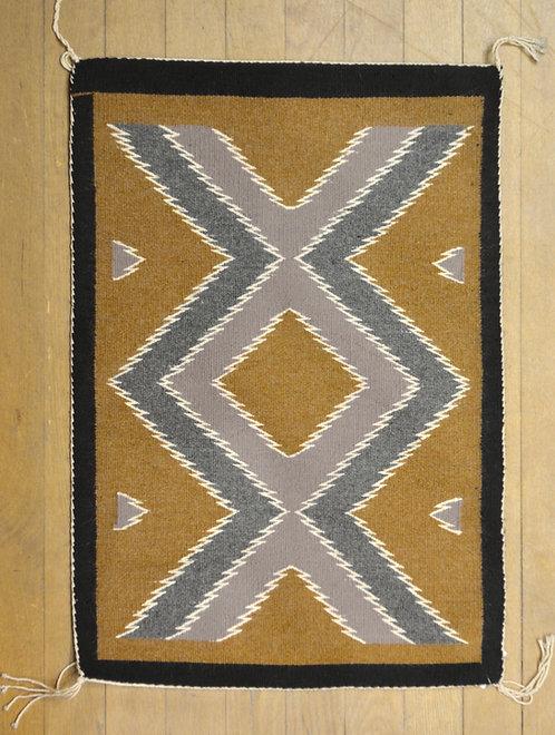 "Two Grey Hills Navajo Weaving - 34"" x 23"""