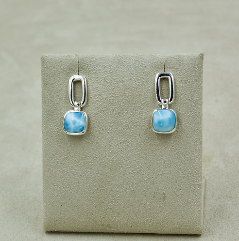 Larimar Square Drops Sterling Silver Post Earrings by Sanchi & Filia