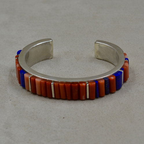 Cobble Inlay Lapis and Coral Cuff by Sean Benally
