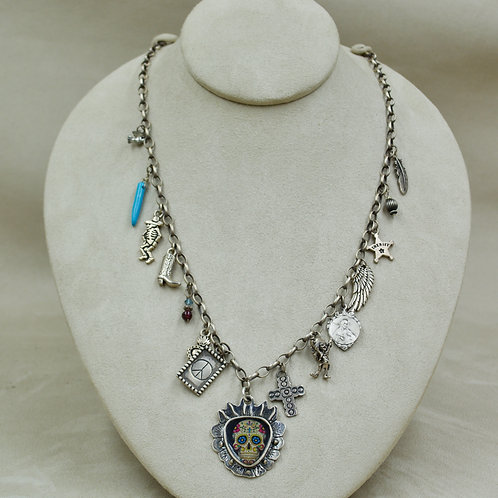 Day of the Dead Sterling Silver Story Charm Necklace by Shoofly 505