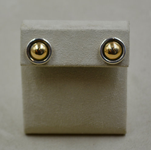 14k Gold & Sterling Silver Round Post Earrings by James Reid