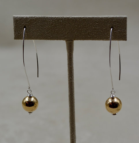 S. Silver Long Dangle Earrings w/ 14k Gold Filled Bead by Sippecan Designs