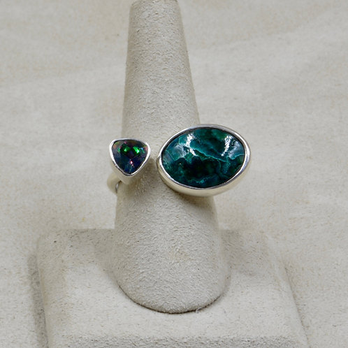 Chrysocolla & Topaz Sterling Silver 9x Ring by Roulette 18