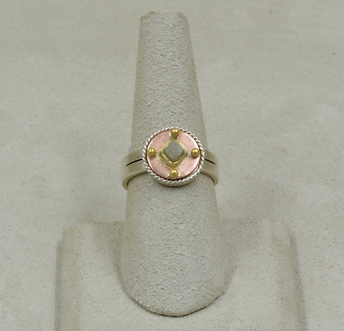 18k Gold, Copper, Raw Diamond and Sterling Silver 7.25x Ring by Joe Glover