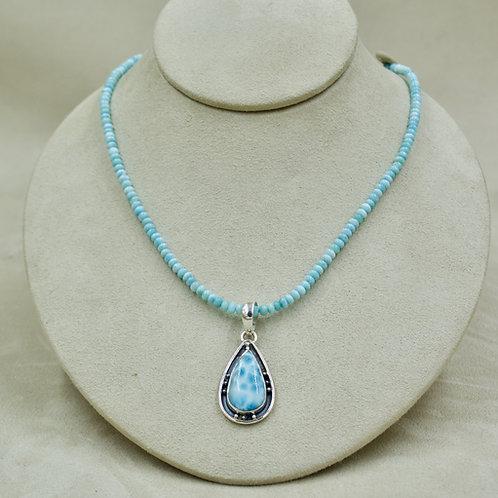 Larimar & Small Rondelles Necklace by Sanchi & Filia