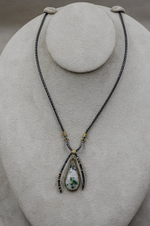 Emerald, White Quartz, Diamond 22k/18k Necklace by Dave M Romero