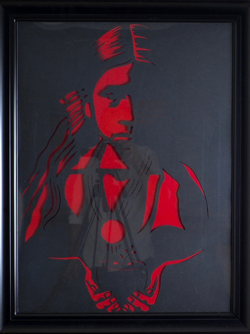 "'Apache Girl' Paper Cut - Framed - 27"" x 21"" - by Valerie Rangel"