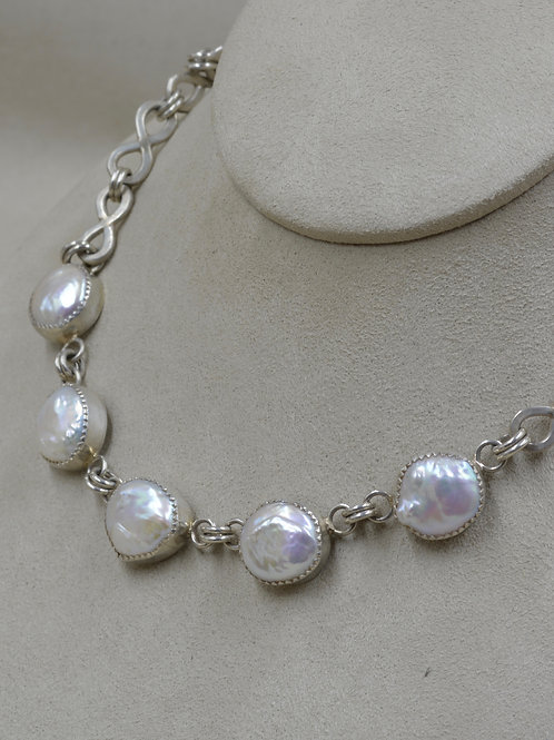 5 Mabe Pearls on S. Silver Handmade Chain by Jacqueline Gala