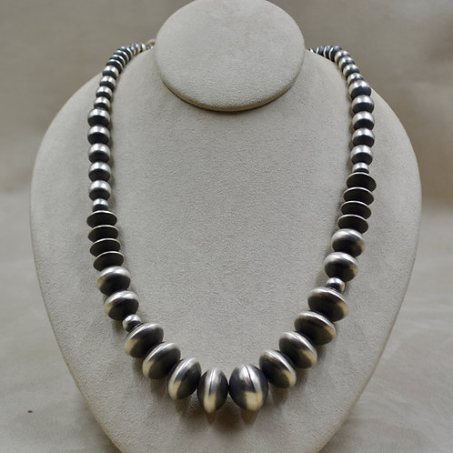 """Navajo Pearls Oxidized Sterling Silver Graduated Multi-Saucers 24"""""""