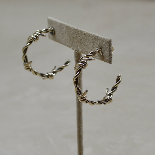 Sterling Silver Barbed Wire Hoop Post Earrings by JL McKinney