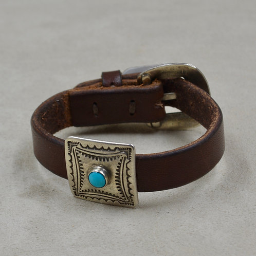 Ingot Square Concho w/ Turquoise on Leather Cuff by Buffalo