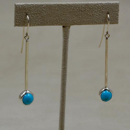 8mm Long Drop Sleeping Beauty Turquoise Wire Earrings by John Paul Rangel