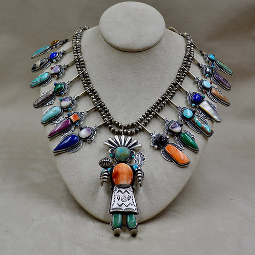 Squash Blossom and Yei Mixed Stone Necklace by Herbert Ration