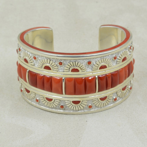 Coral Inlay and Sterling Silver All Hand Fabricated Cuff by Mike Perry