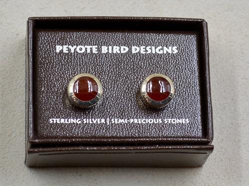 Red Jasper Hefty Round Post Earrings by Peyote Bird Designs