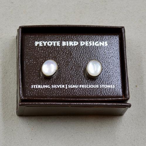 Medium Oval Mother of Pearl Post Earrings by Peyote Bird Designs