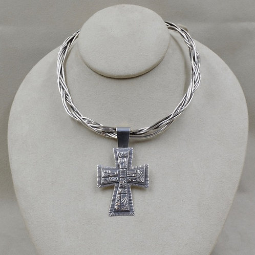 Sterling Silver Embossed Cross by Richard Lindsay