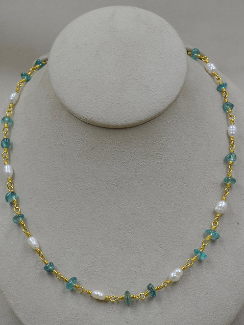22k Gold Tumbled Apatite & Pearl Necklace by Pamela Farland