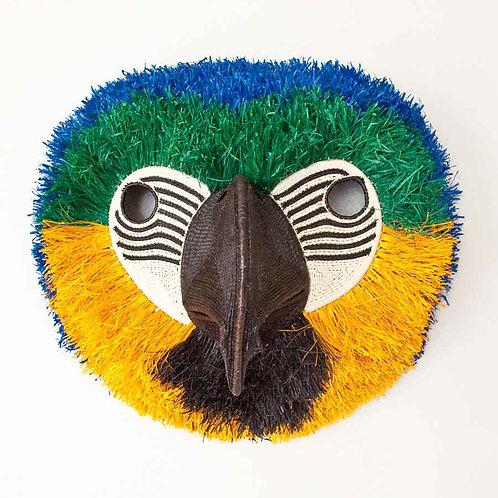 "Colorful Macaw Emberá Mask by Bertilia Chami - 17""W x 15""H"