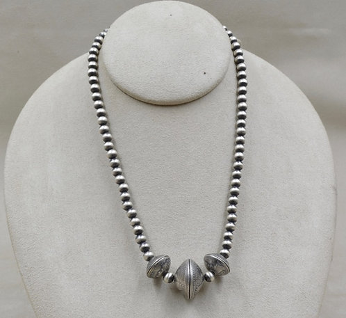 Oxidized Sterling Silver 6mm 2 Dimes w/ Quarter Center Necklace by Maggie Moser