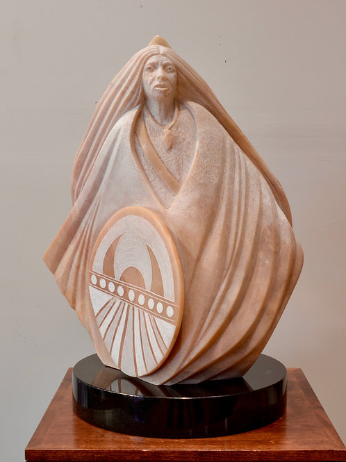 'She Carries the Shield' New Mexico Alabaster Sculpture by Cliff Fragua