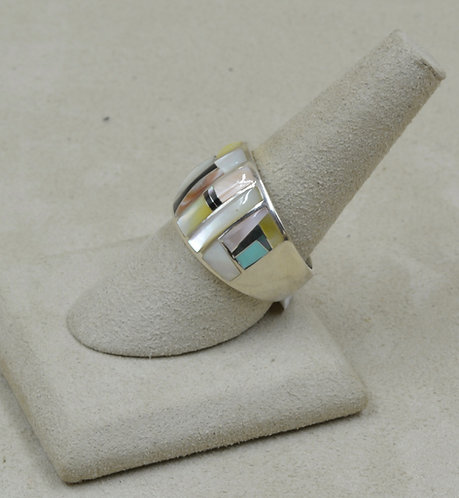 Gold Lip Mother of Pearl, Turquoise, & Sterling Silver 8.5x Ring by GL Miller