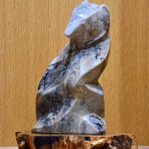 Apricot Bear - Picasso Marble, Olive Wood Base, Inlaid w/ Lapis by Eddy Shorty