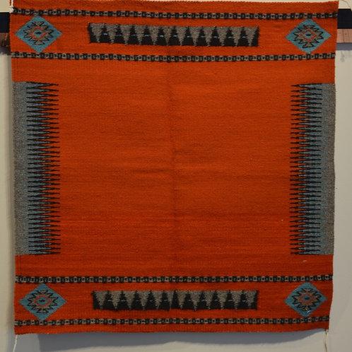"""Black Zapotec Saddle Blanket - 34"""" X 34"""""""