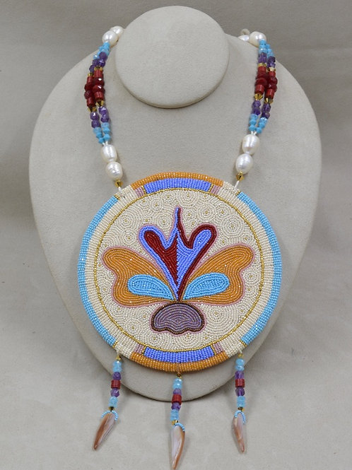 Beaded Medallion w/ Crystals, Pearls, Shell by Hollis Chitto