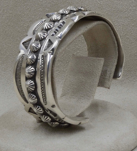 Sterling Silver with Concha Beads Cuff by Leonard Nez