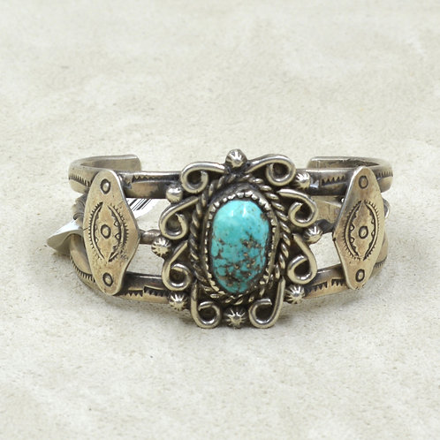 Vintage 50's/60's X-Sm S. S. & Natural Turquoise Possibly Morenci Turquoise Cuff