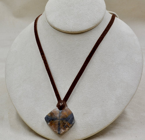 """Andalusite (Chiastolite) on Leather Adj. 26""""L Necklace by Joe Glover"""