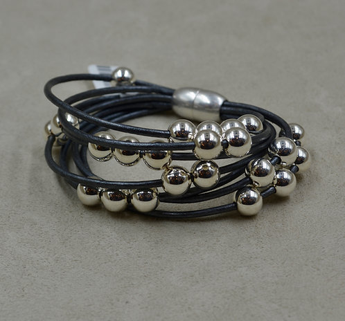 Grey Multi-Strand Sterling Silver Beaded Bracelet by Sippecan Des