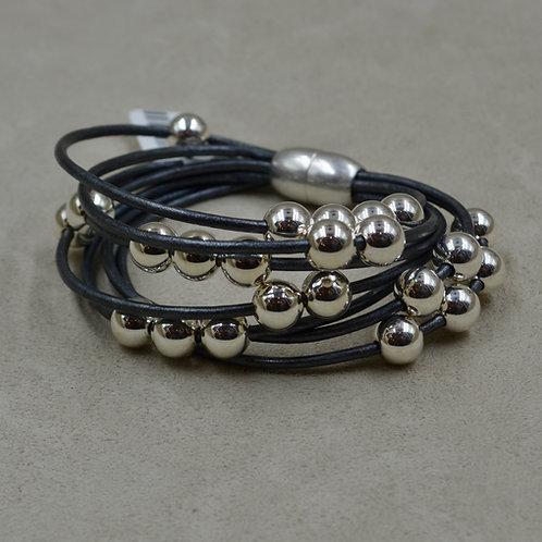Grey Multi-Strand Sterling Silver Beaded Bracelet by Sippecan Des
