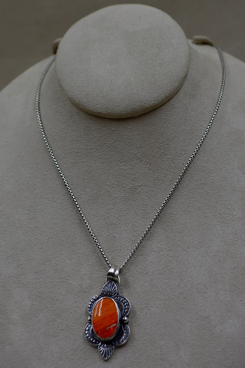 Oval Spiny Oyster Shell Necklace on Sterling Silver Chain by Michele McMillan