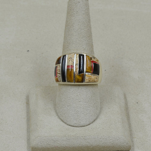 Coral, Tigereye, Black Jade, & S. Silver 9x Ring by GL Miller Studio