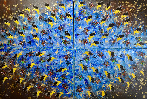 """""""The Sacred Direction"""" Quadriptych - Ac on Canvas - 48"""" x 72"""" - by Ben Nelson"""
