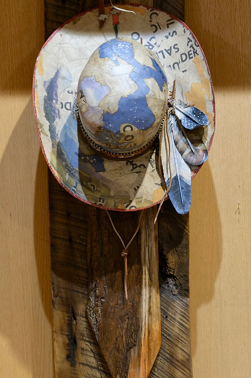 """Blue Sky Hat"" Mixed Sculpture by Valerie Dunning Edwards"