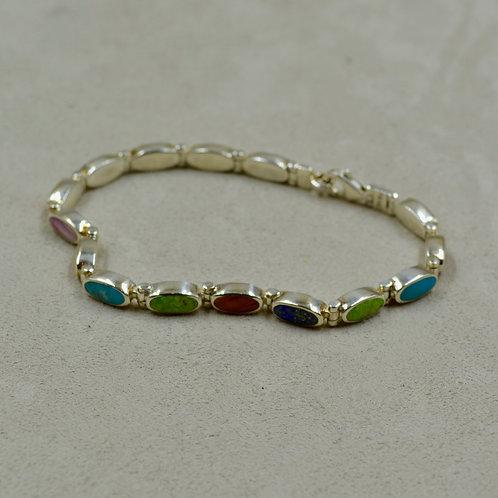 Multi-Stoned Long Ovals Tennis Bracelet by Peyote Bird