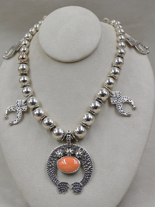 S.S. Naja Beads w/ Large Natural S. China Seas Coral Necklace by Melanie DeLuca