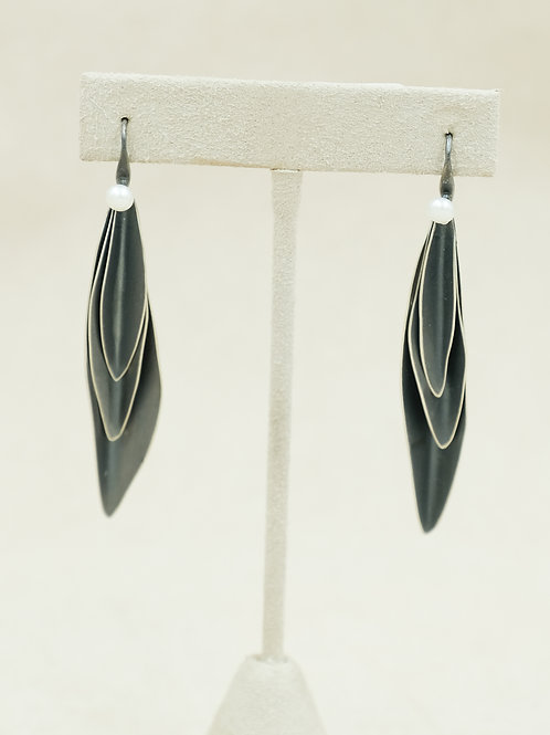 SS w/ Oxidized Stacked Leaves & Freshwater Pearl 4mm Earrings by Reba Engel