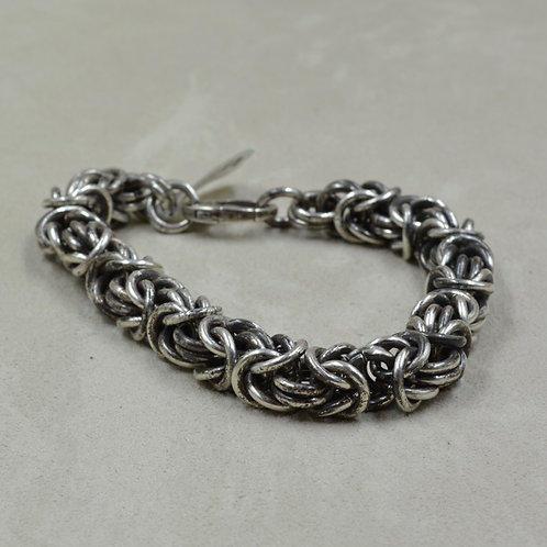 Heavy Handmade Sterling Silver Oxidized Chainmaille Bracelet by Tom Schaefer