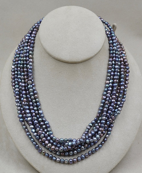 7 Strand Peacock Pearls Necklace by US Pearl Co.