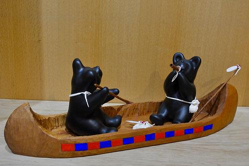 Canoe w/ Two Medium Black Bears by Randy Chitto