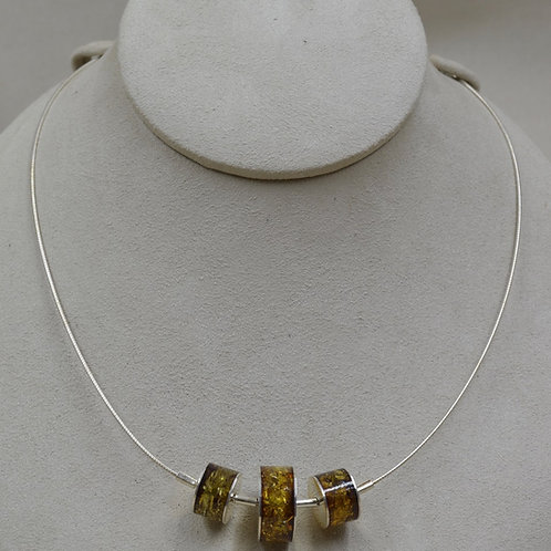S. Silver & Green Amber 3 Graduated Rounds on SS Cable by MTM Silver