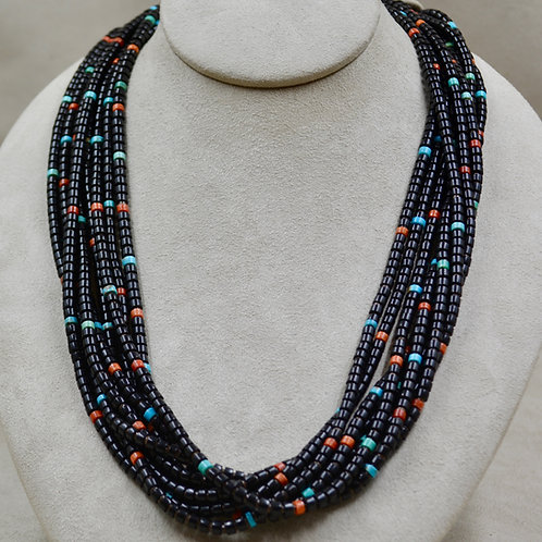 8 Strand Jet, Coral, Turquoise, Olive Shell Necklace by Kenneth Aguilar