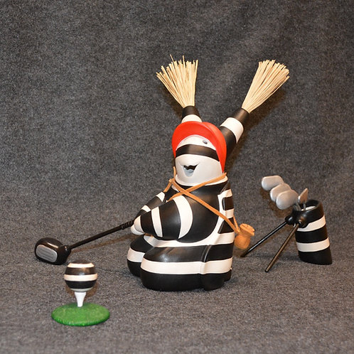 Medium Golfer Bear with Tee and Bag Sculpture by Randy Chitto
